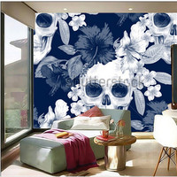 Custom 3D Large Murals Exotic Flowers Hibiscus Palm Leaves Skulls Papel De Parede Living Room Sofa