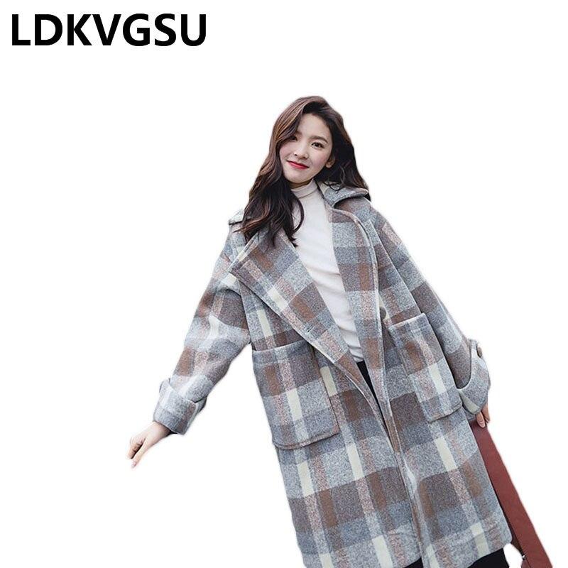 Automne Long Thicke Color Veste Hiver Grande Manteau 2018 De Femmes Is1412 Mode Taille Photo Laine Femme Coréen Plaid Nouvelle Lâche wZZIrR