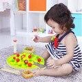 Engraçado educacional de madeira montessori brinquedo clipe árvore frutífera colorido bolas de coordenação olho-mão brinquedo 1 pc