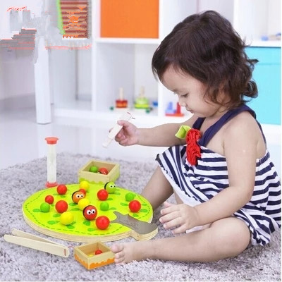 Funny educational wooden toy montessori colorful fruit tree clip balls hand-eye coordination toy 1pc plastic toy funny game pinart 3d clone shape pin art shoumo variety colorful needle child get face palm model 1pc free shipping