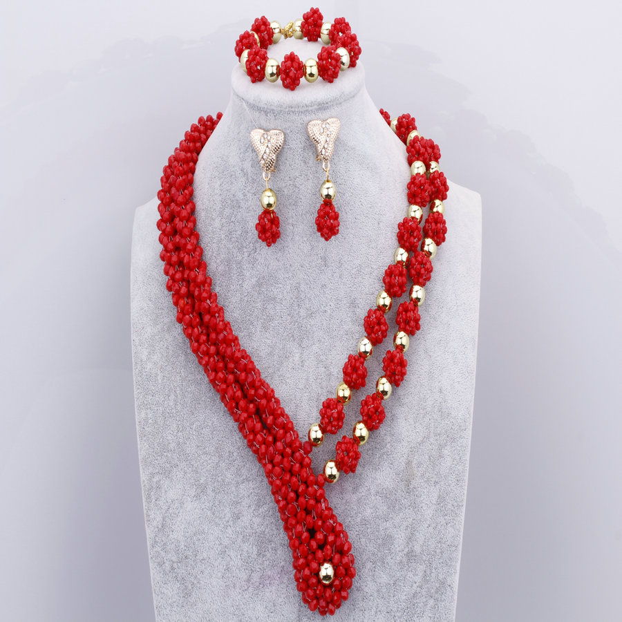 African Dubai Jewelry Sets For Women Red Necklace Set Luxury African Beads Nigerian Wedding Jewellery Sets Free Shipping