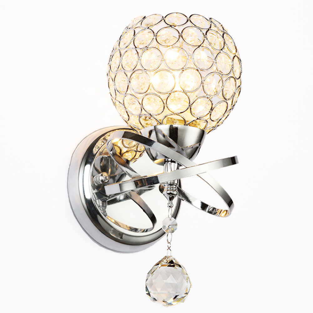 Led fashionable creative sconce bedside bedroom lamp living room wall light simple modern aisle corridor crystal wall lamp e27 round crystal lamp bedroom bedside lamp wall lamp simple modern personality aisle led living room wall