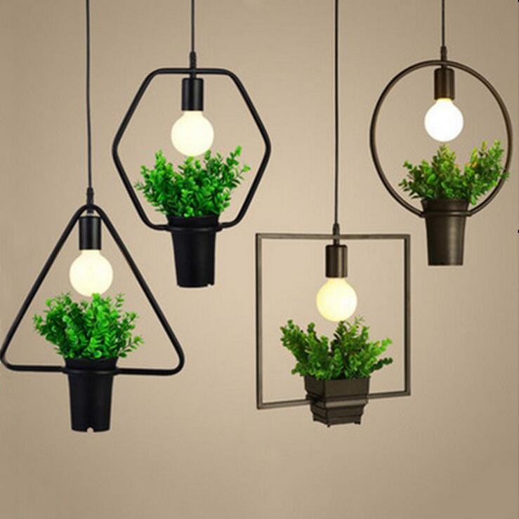 ФОТО Modern Simple Geometric Iron Plant Flower Chandelier Creative personality Chandelier Unique Decorative Lamp E27 Edison Bulb