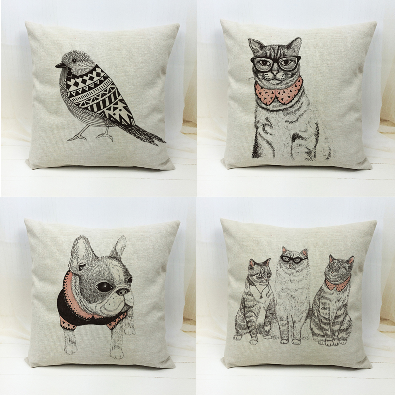 Free Shipping Wholesale 100% Polyester Linen Creative Animal European Adorable French Bulldog Dog Cats Cushion Pillow Cover