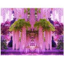 Diy 5d diamond bordado rosa patrón de flores de glicina árbol rhinestone mosaico 50*65 plaza llena de diamantes punto de cruz pintura
