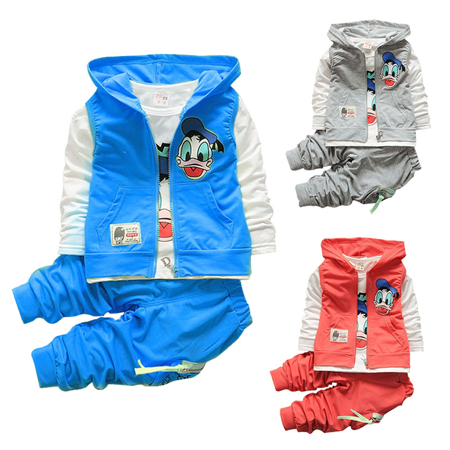 2016 Autumn children boys girls clothing sets baby kids cartoon Garfield vest coat jacket T shirt pants Donald Duck clothes set