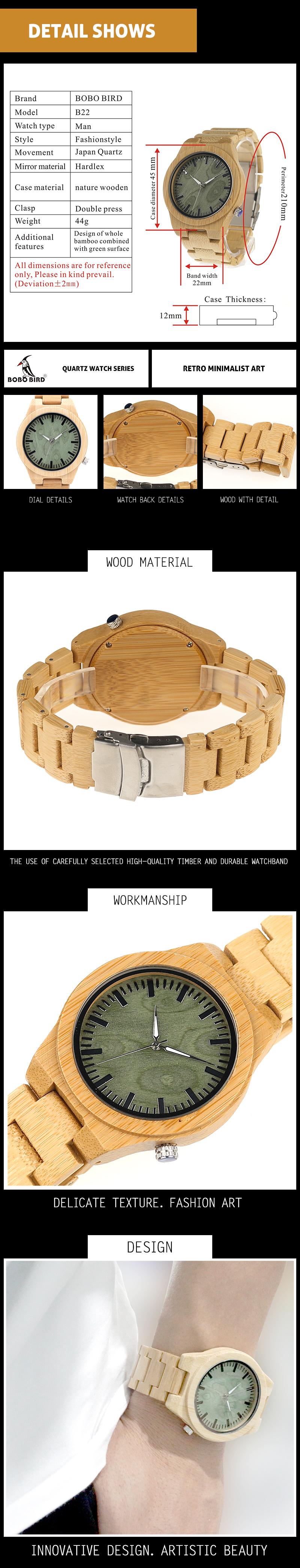 Wristwatch Ghost Eyes Wood Strap Glow Analog Watch with Bamboo Gift Box C-B22 (1)