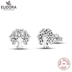 EUDORA 925 Sterling Silver Triquetra Celtics Knot Stud Earring Tree of Life Earrings for girl Fine Jewelry Christmas gift CYE77