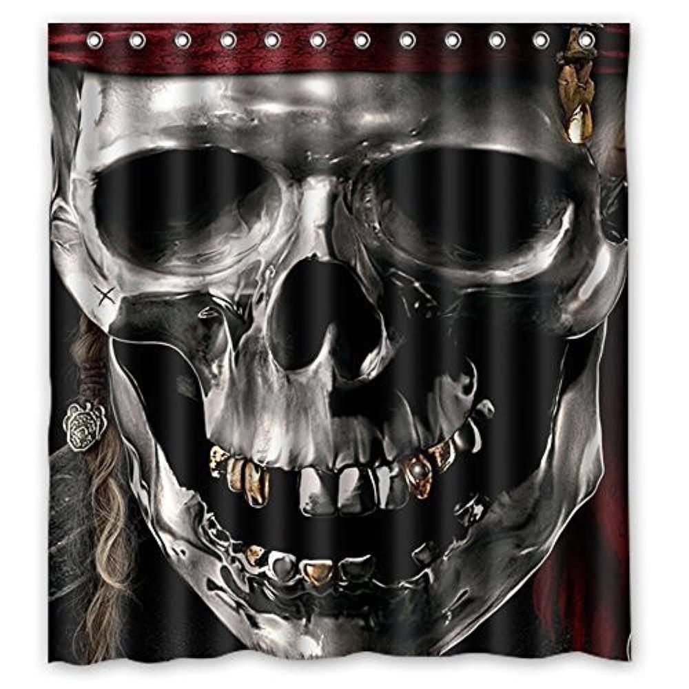 Jolly roger shower curtain - Pirates Skull Custom Shower Curtain Waterproof Bathroom Popular To Fit Bath Tubs