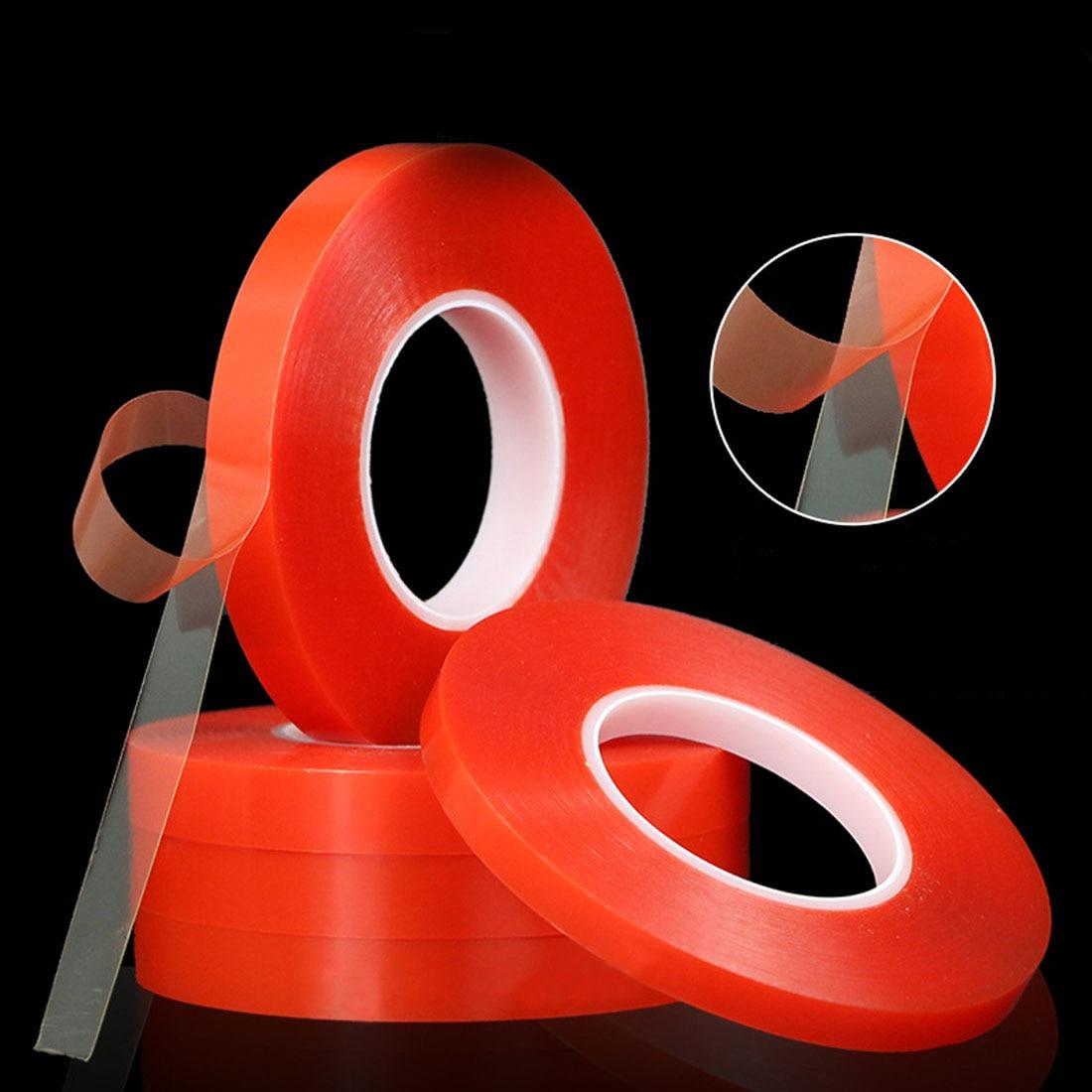 Nouveau Double Face Bande 5mm 50 M Forte Adhésif Acrylique Rouge Film Autocollant Clair pour Mobile Téléphone LCD Panneau D'affichage Écran réparation