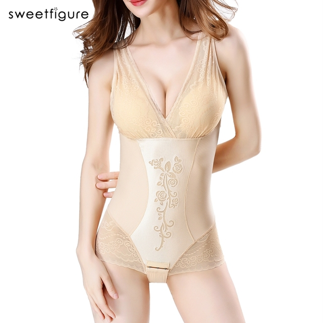 Sexy Lace Carved Flower Women Shaper Bodysuits With Padding Bra Postpartum Weight Loss Control Waist Hips Up Bust Thin Shapers