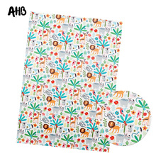 AHB Synthetic Leather Fabric Lions Printed Faux Leather Ballet Cat Sheets For Bows Making DIY Hair Accessories Crafts Materials цена и фото
