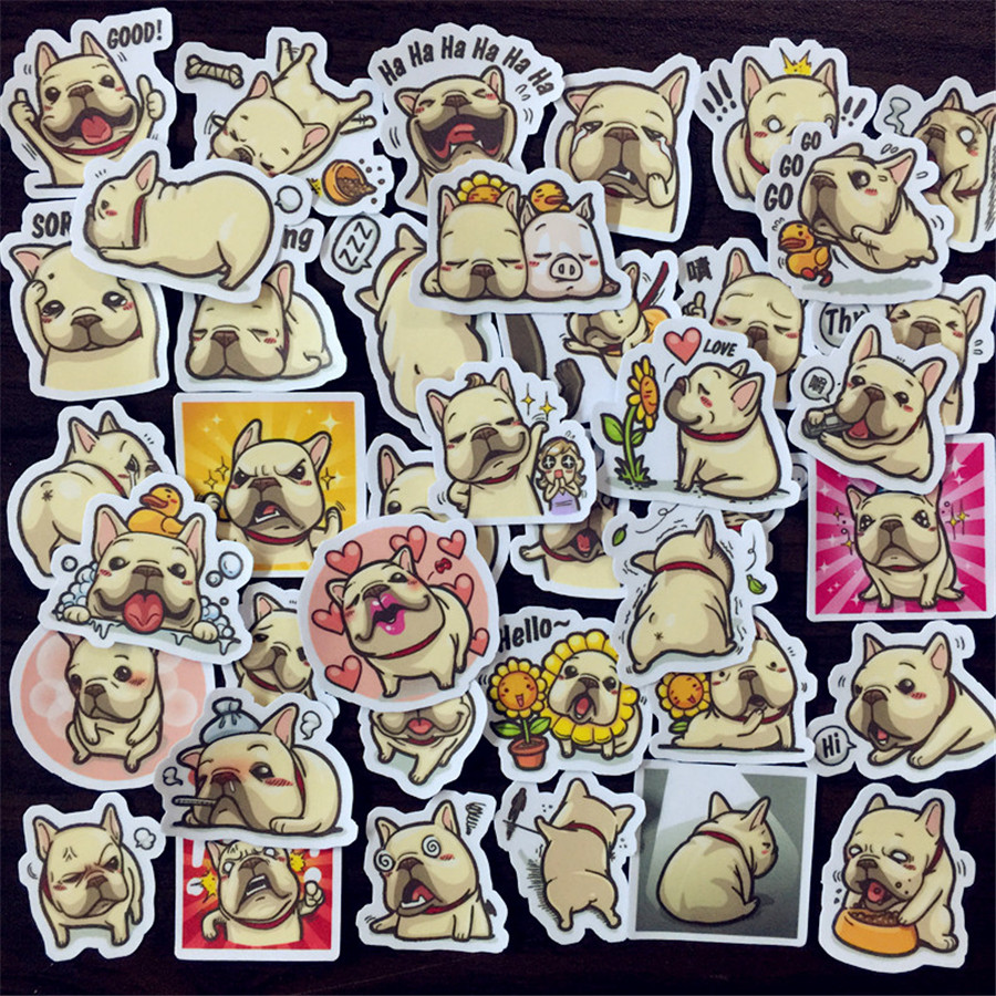 DIY Pocket Stickers French Bulldog album album decoration diary sticker 35 pcs scrapbooking|Stickers|   - AliExpress