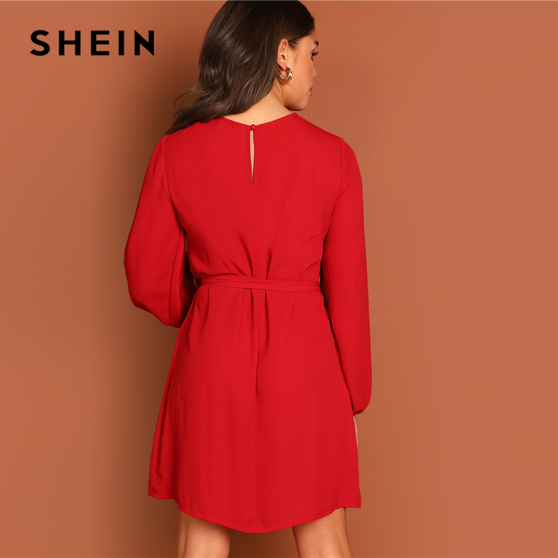 SHEIN Keyhole Back Waist Belted A Line Knot Plain Dress Women's Shein Collection