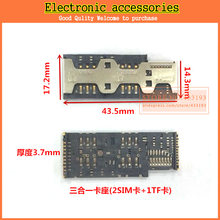New 5pcs mobile phone sim card connector 3 in 1 SIM Card Tray Slot Connector 2SIM+TF card(China)