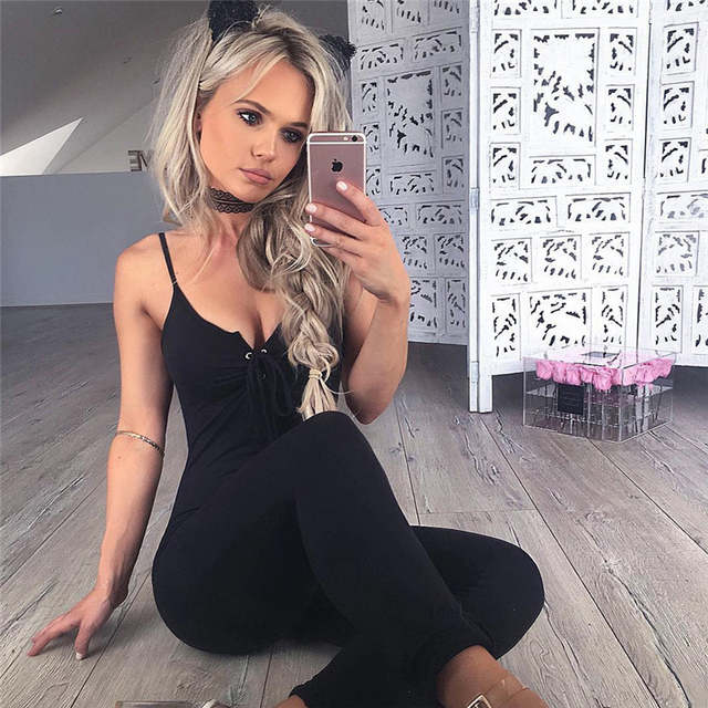 dd51ff20d401 placeholder Spaghetti Strap Lace Up Elegant Bodycon Jumpsuit Romper Women V  Neck Sleeveless Sportsuit Casual Black Long