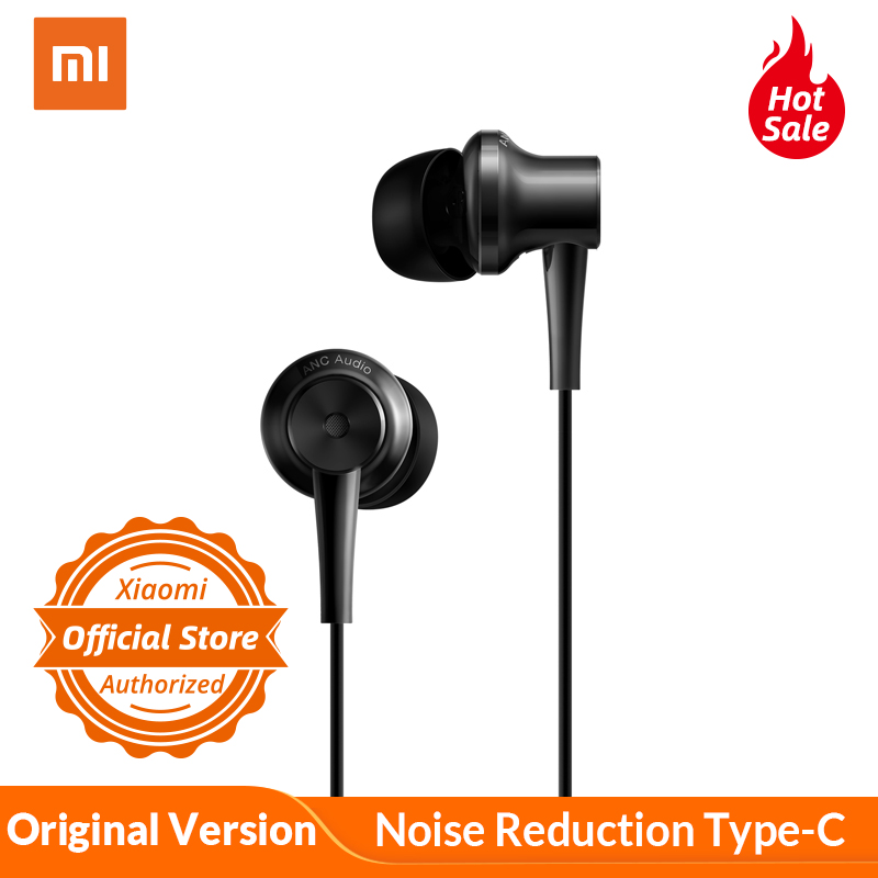 Original Xiaomi Earphone Type C In Ear ANC Hybrid Earphones Noise Cancelling Wired Control With MIC for mi 8 xiaomi mi mix 2s 6x-in Phone Earphones & Headphones from Consumer Electronics