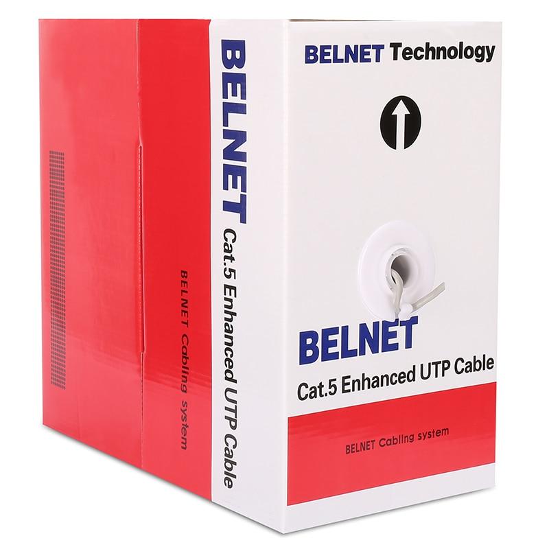 BELNET 305M 1000FT bulk CAT5E UTP RJ45 Ethernet cable network lan cable 24AWG Solid Twisted Pair OFC for network construction ultralink mcv 4m bulk matrix 2 series component video cable 4m bulk packaging