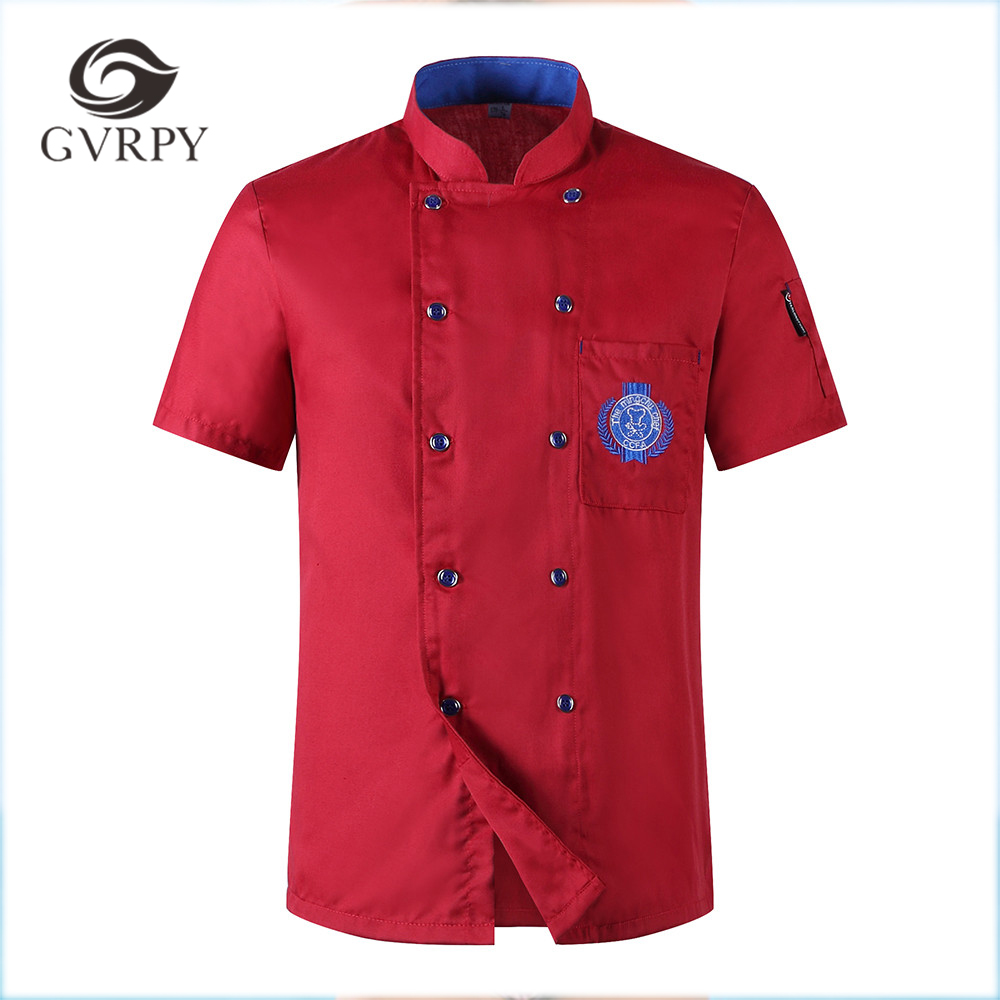 Women Men's Embroidery Badge Restaurant Chef Waiter Summer Work Double-breasted Kitchen Cook Uniforms Short-sleeved Chef Jackets