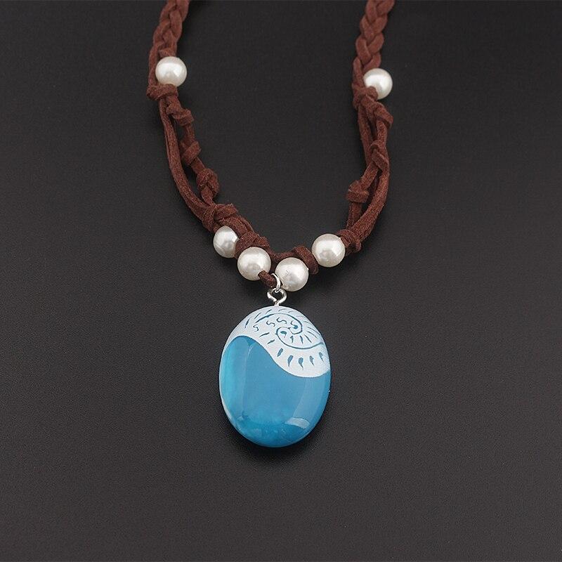 Moana-collar azul de resina con forma de tejido para mujer, colgante, joyería, restauración de maneras antiguas