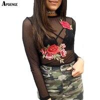 אישה סקסי Sheer Mesh טופיק חולצות יבול ורדים אלגנטיים רקמת 2017 אביב הקיץ ארוך שרוול O-צוואר חולצות QN087