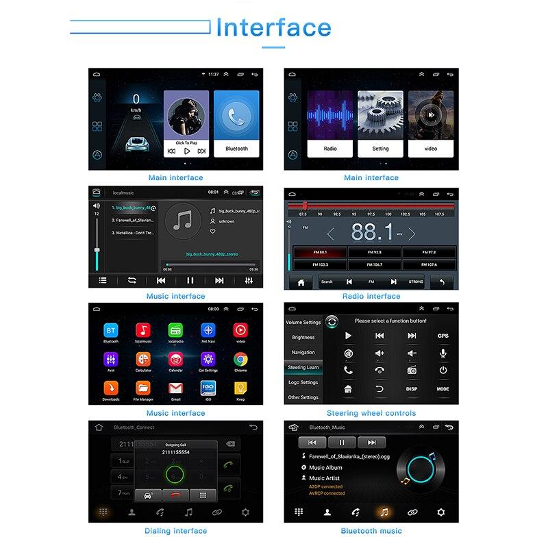 Pour Android 8.1 lecteur radio de voiture écran LCD 7 pouces 1024*600 accessoire de remplacement Double din Navigation
