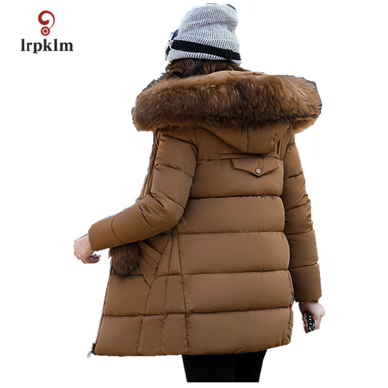 2017 New Big Fur Collar Hooded Female Long Winter Parkas Thick Women Cotton Padded Coat Fashion Slim Outerwear Coffee PQ013 akslxdmmd parkas winter women jacket 2017 new fashion rabbit fur collar hooded thick padded cotton mid long coat female lh1073