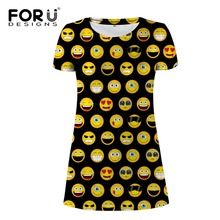 FORUDESIGNS Wholesale Women Dress Kawaii Funky Emoji Smile Sexy Maxi Dresses For Girl Summer Beach Short Ladies Vestidos