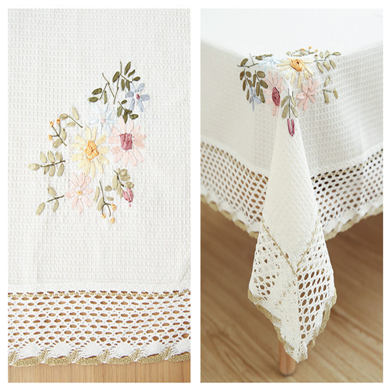 Europe Flowers Tablecloth White Hollow Lace Cotton Linen Dustproof Table cloth 5