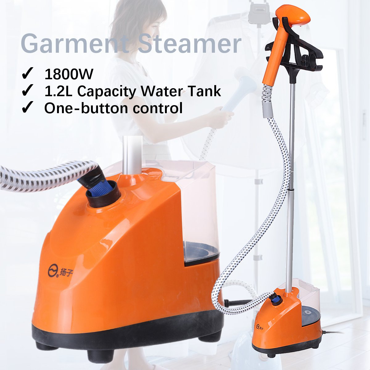 1.2L 1800W Electric Garment Steamer Cloth Fabric Wrinkle Ironing Machine Hanger Heat Water Tank Hanging Steamer Machine 220V