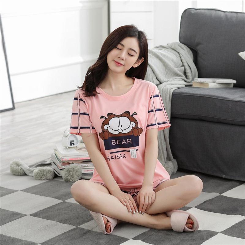Yfashion Women Cartoon Bear Girls Pajamas Set Summer Short Sleeve Tops Bottoms Casual Home Wear Pyjama Set Female Women in Robe Gown Sets from Underwear Sleepwears