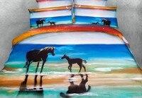 Кровать лошадь набор 3D постельных принадлежностей одеяло пододеяльник простыня простыни постельное белье с животным принтом супер король