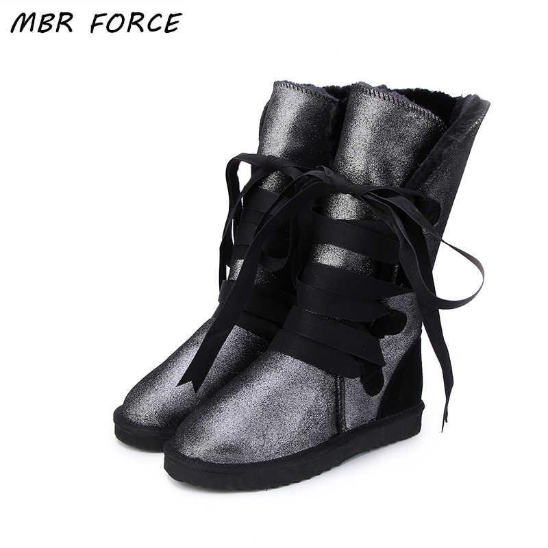 MBR KRAFT Neue Hohe Qualität Wasserdicht Klassische Schnee Stiefel Aus Echtem Leder Pelz Frauen Stiefel Mode Warme Winter Stiefel UNS 3 -13