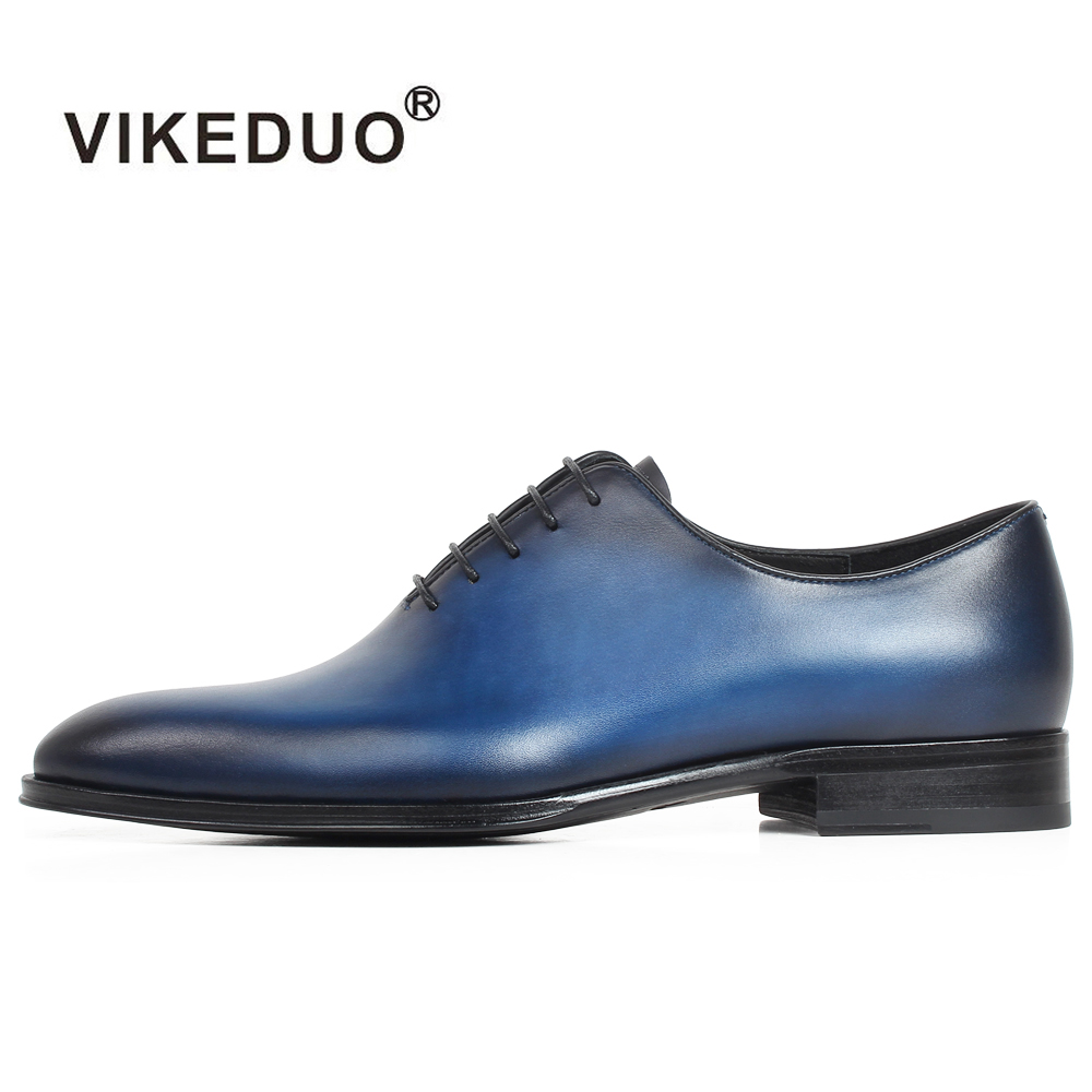 VIKEDUO Plain Blue Handmade Leather Shoes Men Wedding Office Formal Cow Skin Oxford Shoes Male Flat