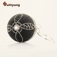 New Fashion Women S Ball Shape Clutch Bag Small Tote Purse Noble Pearls Diamond Wedding Beaded