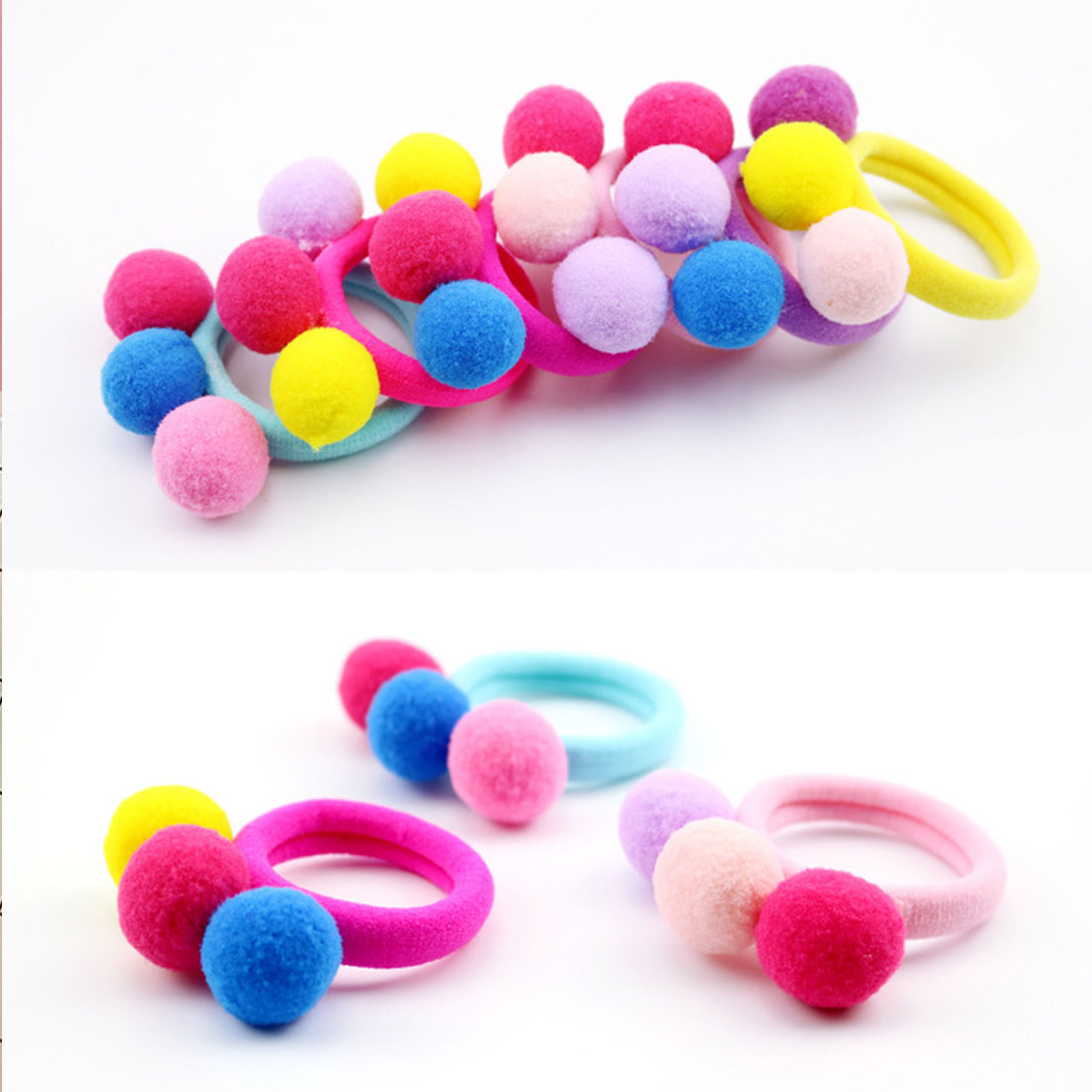 1PC 3Balls Candy Color Elastics Hair Bands Ponytail Holder Rubber Gum Bands Headbands Scrunchy Ropes For Girls Hair Accessories in Hair Accessories from Mother Kids