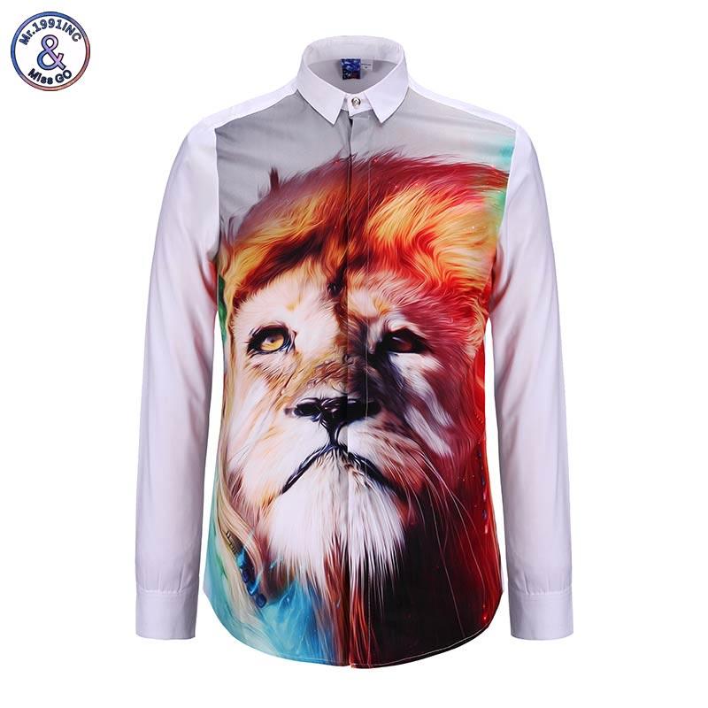2017 Mr.1991INC Men's shirt 3d animals Lion casual tops slim fit designer Print Camisa shirts Asia size S-XL