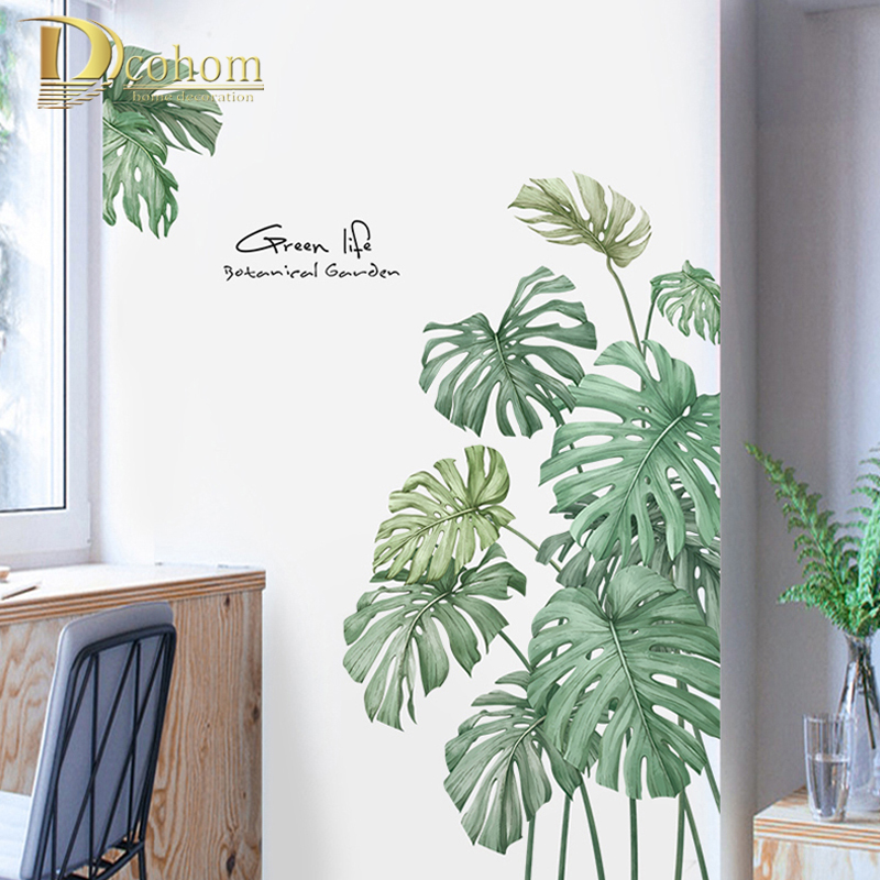 Plant Palm Tree Wall Sticker For Office Room Creative Kitchen Vinyl Stickers Refrigerator Modern Home Decor(China)