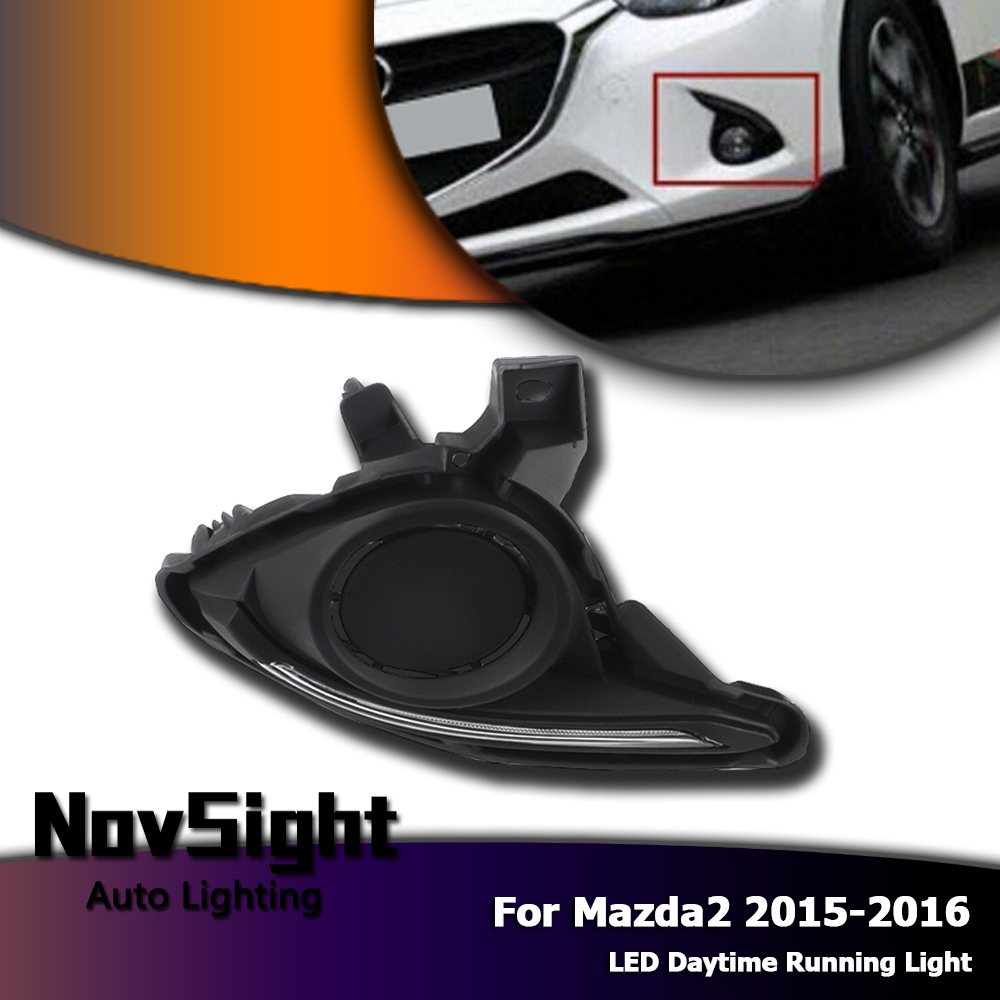 NOVSIGHT Auto Car LED Light DRL 600lm IP65 7000K Driving Daytime Running Lights <font><b>Fog</b></font> <font><b>Lamps</b></font> White for <font><b>Mazda</b></font> <font><b>2</b></font> 2015-2016 2pcs D25 image