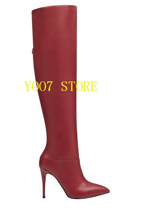 Pointu Marque Dames Bout Chaussures Talons Bottes Femmes Rouge Mode En Cuir Sexy Hauts Cuisse Over Haute Europe Chaussons the genou De rTqrH