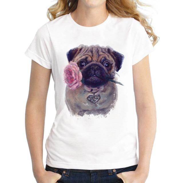 d0d9aa01f9 2018 Vintage Fashion Flower Pug girl Shirt Women T Shirt Tops For Women  Camiseta Top Retro Pug Printed T-shirt