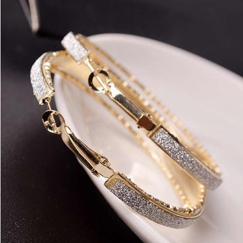Bohemian double round silver/gold  light plated frosted large hoop earrings jewelry for women party  fashion jewelry