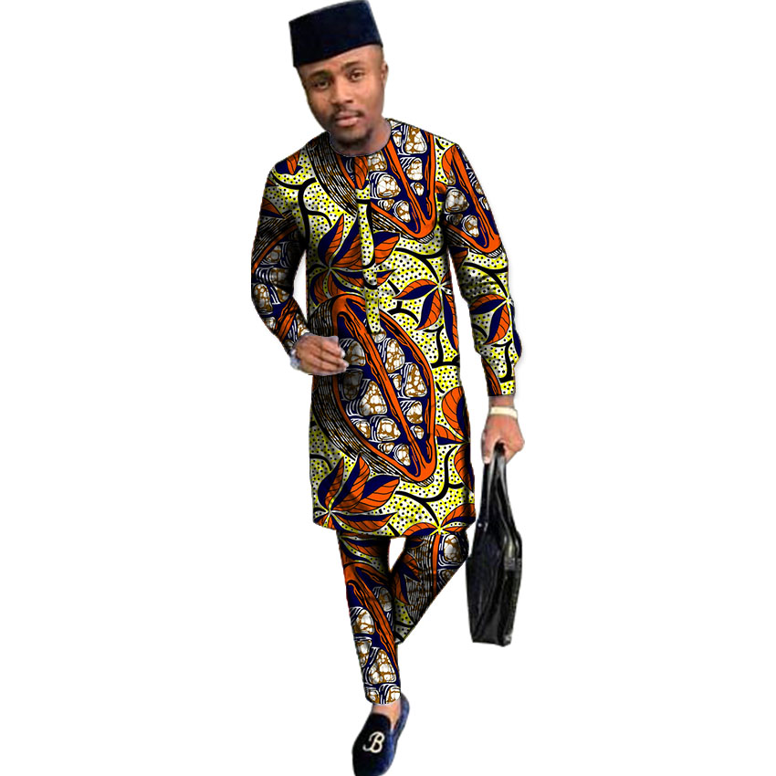 Customized men African print shirt+pant set clothing long sleeve top with trouser 2 pieces long style man shirts by African wax