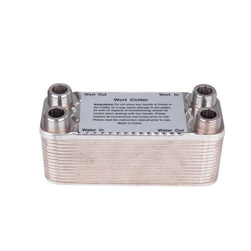 30 Plates Wort Chiller 304 Stainless Homebrew Heat Exchanger 3/4 1/2 BSP Male 0.616m2 titanium heat exchanger plates