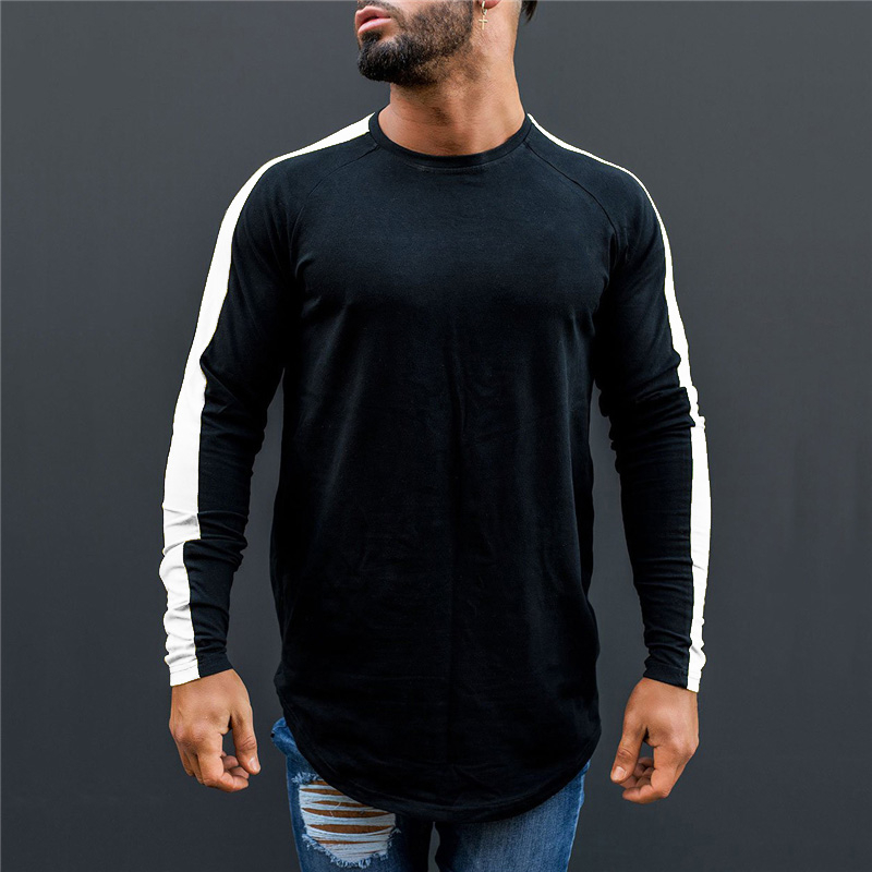 Muscleguys Brand T-Shirt Men 2018 Autumn Fitness Raglan Long Sleeve T Shirt Men Extra Long Hip Hop Streetwear Slim Fit Tee Shirt