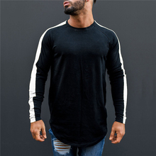 3a49c94f82 Muscleguys marca Camiseta Hombre 2018 otoño Fitness Raglan manga larga  Camiseta hombres Extra largo Hip Hop Streetwear Slim Fit .