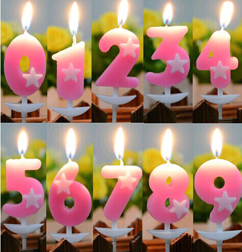 100 Pcs Pack Birthday Candles Numbers Star Design Gift Home Supplies Free Shipping