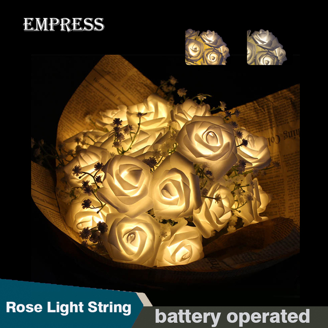 fashion holiday lighting 20 led rose flower battery operated fairy string lights wedding garden party valentines - Valentine String Lights