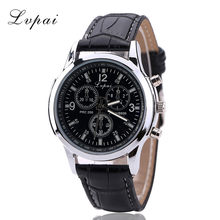 Casual Leather Band Wristwatch Mens Round Dial Quartz Analog Wrist Watches Three Eyes Dials Adjustable Band Clock Gift For Men(China)