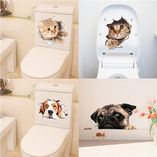 New Creative Wall Stickers 3D Kitten Puppy Wall Decoration Toilet Cover Notebook Sticker PVC Animal stickers on the toilet seat